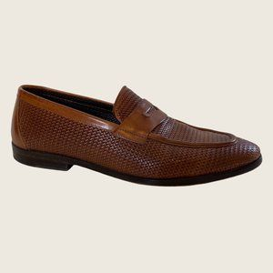 Canali Faux Weave Cognac Leather Penny Loafers